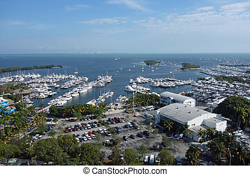Aerial view of Biscayne Bay - Aerial view of Dinner Key and...