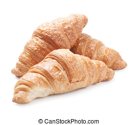 Fresh croissants isolated on white background
