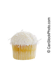 Isolated Coconut cupcake on white
