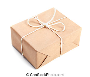 Parcel wrapped with brown packing paper tied with twine...