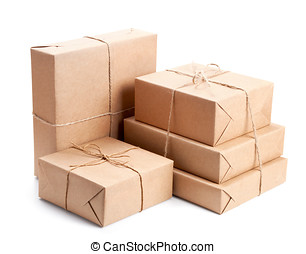 Group of parcel wrapped with brown packing paper isolated on...