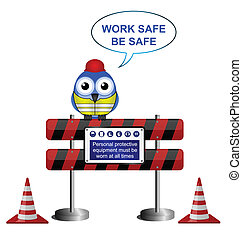 work safe message - Construction work safe message isolated...