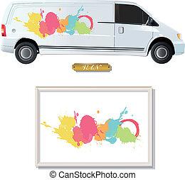 Colorful paint printed on van.