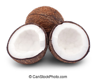 whole and broken coconut isolated on a white background