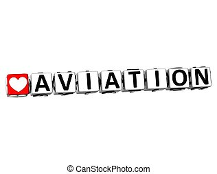 3D Love Aviation Button Click Here Block Text over white...