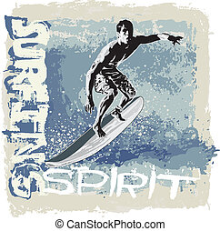surfing spirit - illustration for shirt printed and poster