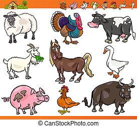 granja, animales, Conjunto, caricatura, Ilustración