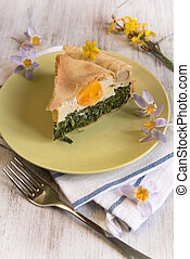Easter cake - Savory flan filled with green vegetables,...