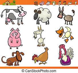 granja, Conjunto, animales, caricatura, Ilustración