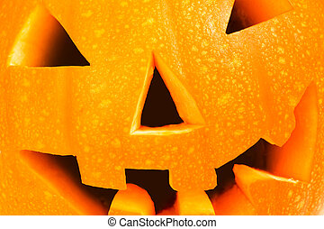 Pumpkin head closeup and cropped with a scary smile