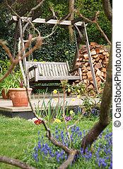 Summer garden - Relaxing summer garden back yard with...
