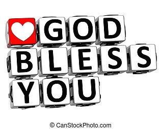 3D God Bless You Button Click Here Block Text over white...