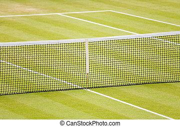 Grass tennis court - Closeup of a lawn tennis court with net...