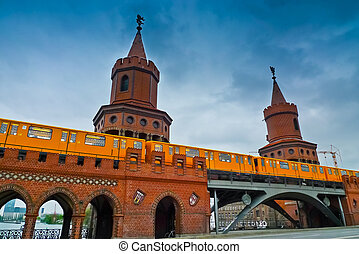 Oberbaum Bridge - U-Bahn train crossing on Oberbaum Bridge,...