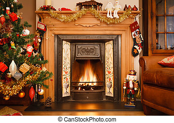 Christmas fireplace - Christmas fire place in a living room