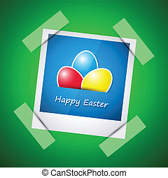 Happy easter card, happy easter picture in photo frame