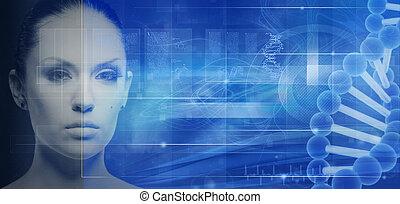 biotecnologia, genético, engenharia, abstratos,...