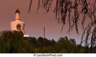 BeiJing BeiHai Park White Tower&Tibetan Buddhism.willow...
