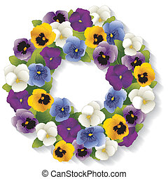 Pansy Wreath - Spring Pansy wreath with Viola flowers in...