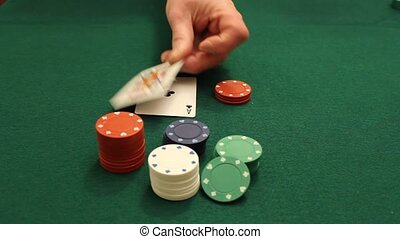 blackjack - player is dealt an ace and a jack at the casino