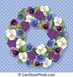 Pansy Wreath, Pastel Blue - Spring Pansy wreath with Viola...