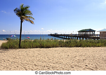 Lauderdale-by-the-Sea, Florida Beach and Pier - Sunbathing...