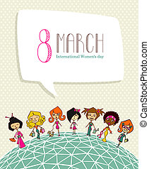 Diversity 8 march Women Day - Different cultures women in 8...