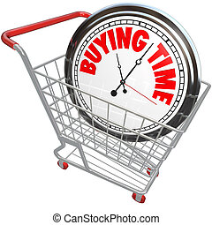 Buying Time Clock in Shopping Cart Saving - A white clock in...