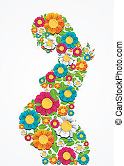 Pregnancy spring flowers woman - Spring pregnant woman...