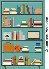 Retro Bookshelf - Vector illustration of a retro themed...