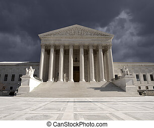 Supreme Court Storm - Dark forbidding storm sky over the...