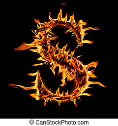 """Fire flaming letter """"S"""" background"""