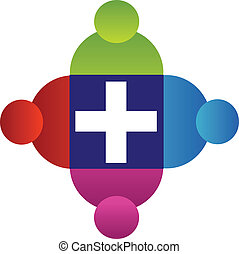 Teamwork people with cross logo