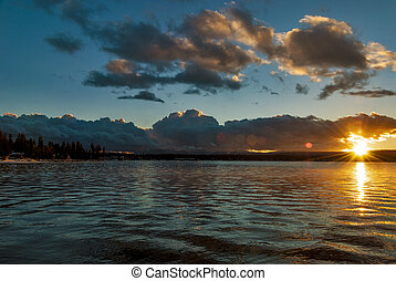 Idaho Mountain Lake winter sunset - Beautiful sunset behind...