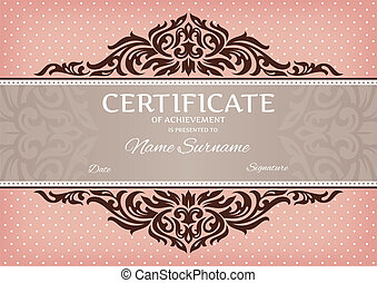 certificate of achievement - abstract floral certificate of...