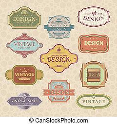 set of vintage style frames vector illustration