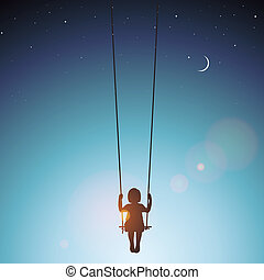 Little girl on a swing, vector Eps 10 illustration.