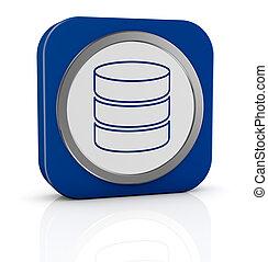 database icon - one icon with database symbol (3d render)
