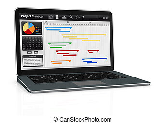 project management - one computer notebook with project...