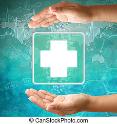 médico, ícone, primeiro, ajuda, mão