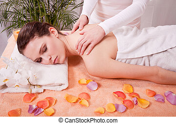 young attractive smilig woman doing wellness spa relaxing...