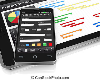 project management - one tablet pc and a cellphone with...