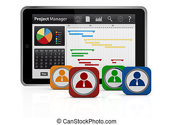 project management - one tablet pc with a gantt chart and...