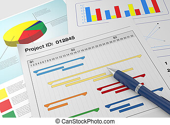 project management - closeup view of paper documents with...