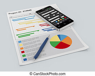 project management - one cellphone with a project manager...