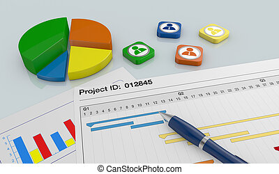 project management - closeup view of a paper document with...