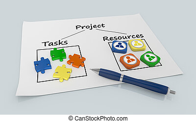 project management - paper document with a project diagram...