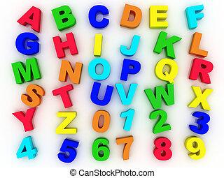 3D, entiers, Alphabet, Chiffres
