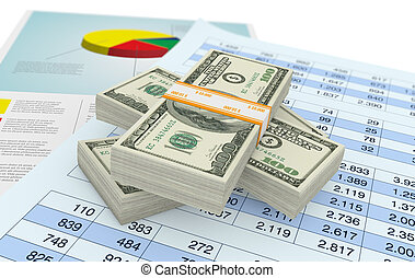 us dollars and financials documents - some stack of us...