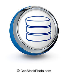 database icon - one icon with database symbol (3d render)